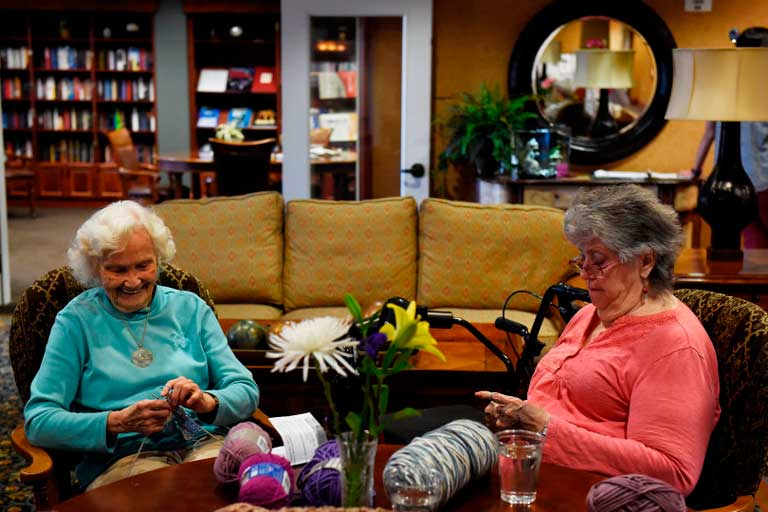 Aurora seniors knitting