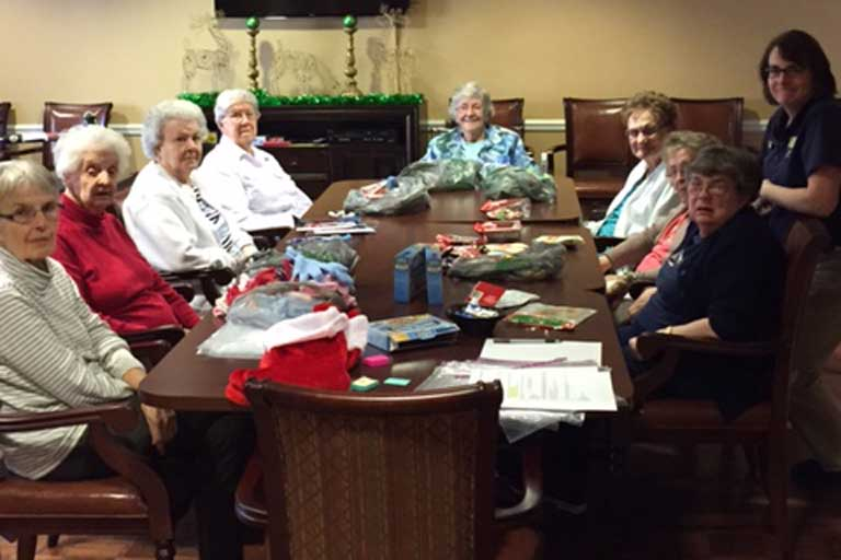 Residents creating Blessing Bags at The AbbeWood