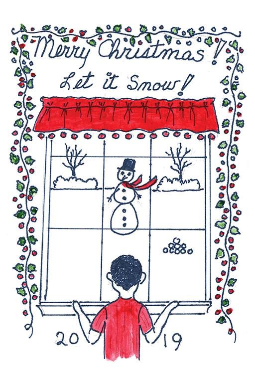 Bette Higgins' winning Christmas card