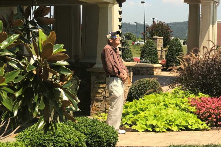 Resident David Aichele gazing at the eclipse