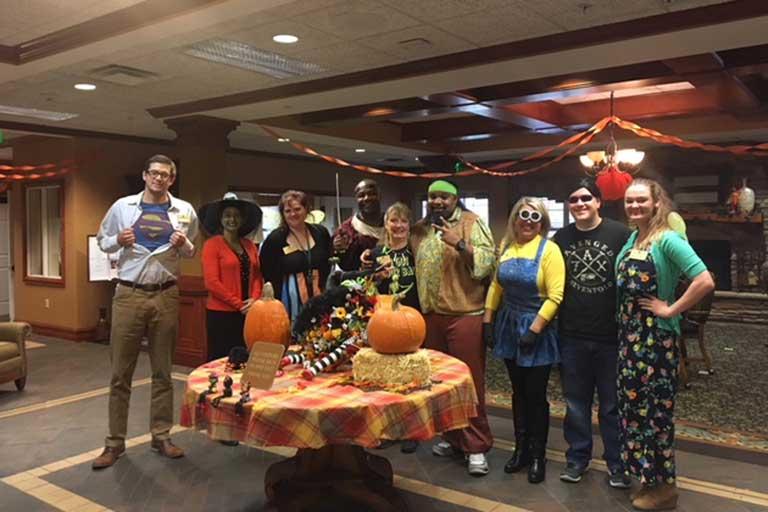 Associates at Garden Plaza of Aurora celebrating Halloween