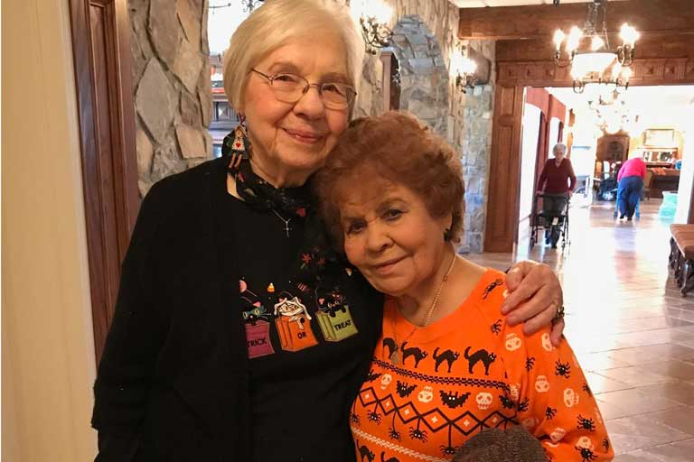 Residents enjoying Halloween at Garden Plaza of Greenbriar Cove