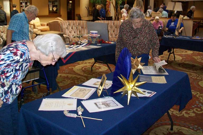Residents browsing display